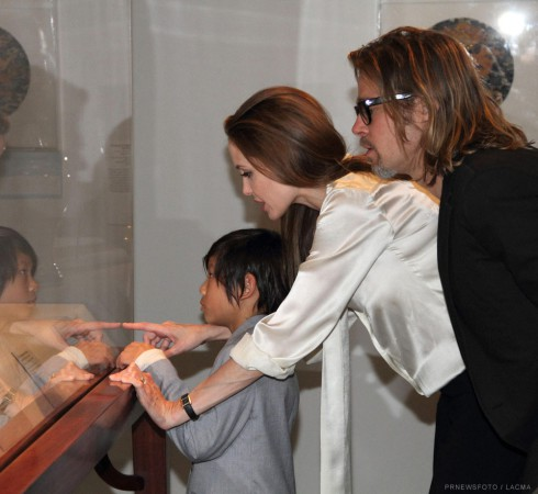 Angelina Jolie wearing an engagement ring at the Los Angeles County Museum of Art