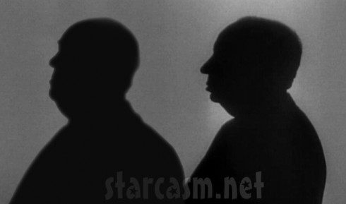 Anthony Hopkins and Alfred Hitchcock silhouettes side by side