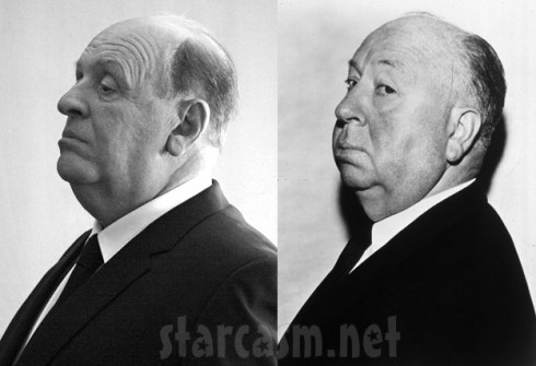 Side-by-side photos of Alfred Hitchcock and Anthony Hopkins