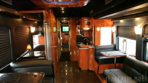 An interior photo of DJ Khaled's tour bus before it went up in flames
