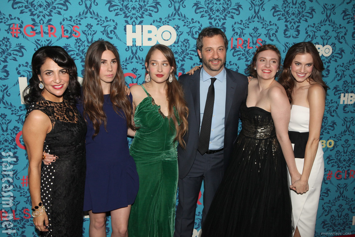 Hbo girls cast with judd apatow at the premiere in new york city on