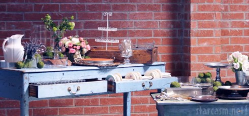Jessica Simpson baby shower photo with tables and food