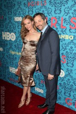 Judd Apatow and Leslie Mann at the HBO Girls Premiere in New York City on April 4 2012