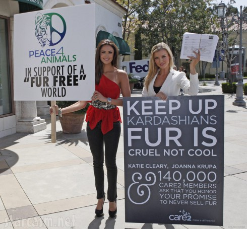 Katie Cleary and Joanna Krupa leading a Care2 protest at DASH in Calabasas