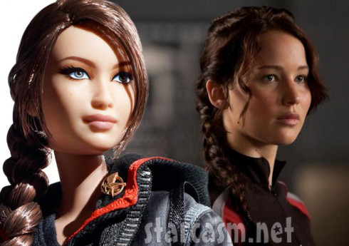 Hunger Games Katniss Everdeen Barbie doll and Jennifer Lawrence side by side photos