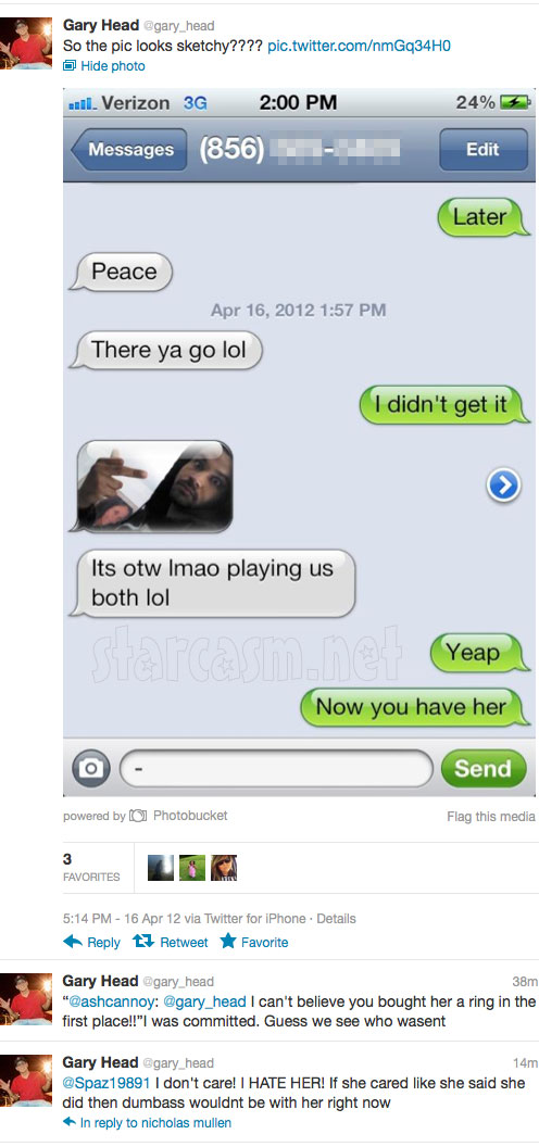 Text messages between Jenelle Evans boyfriends Kieffer Delp and Gary Head
