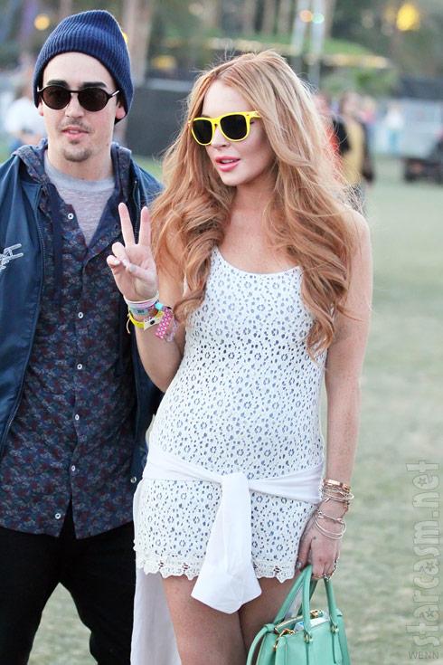 Lindsay Lohan and a mystery man at Coachella Music Festival 2012