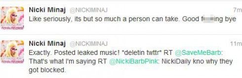 Nicki Minaj tweets just before deleting her Twitter account