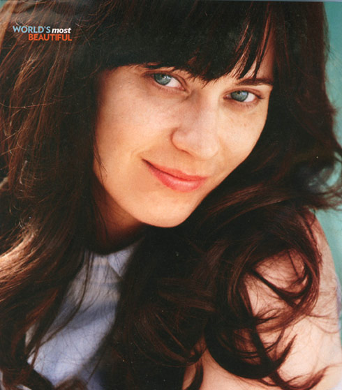 Zooey Deschanel in People without makeup