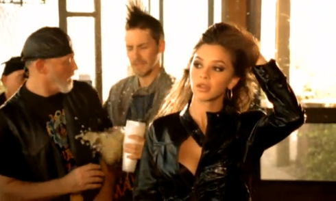 "Lacey Buchanan in leather, ""Eight Seconds Out"" video by Jake Owen"
