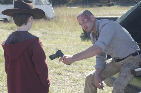 The Walking Dead's Shane (Jon Bernthal) plays father figure to Carl Grimes (Chandler Riggs)