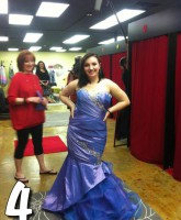 Teen Mom 3 Alex Sekella tries on a dark blue prom dress