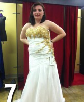 Teen Mom 3 Alex Sekella tries on a white and gold prom dress