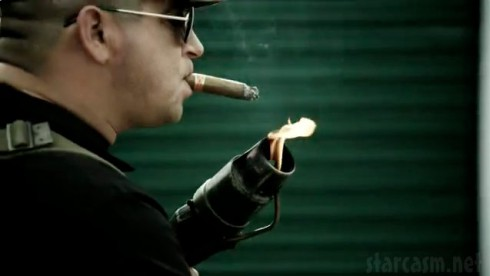 Storage Wars Dave Hester lights a cigar with a flame thrower