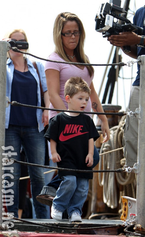 Jenelle Evans and son Jace aboard the HMS Bounty pirate ship