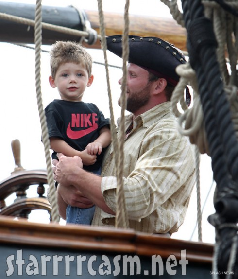 Jenelle Evans son Jace held by a pirate on the HMS Bounty