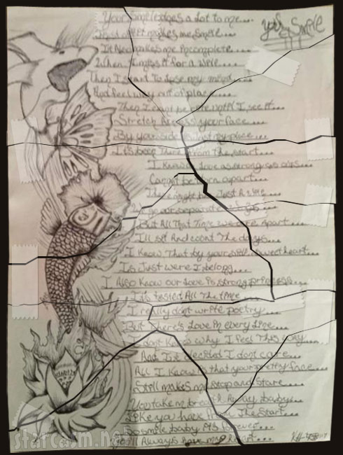 Kieffer Delp poem to Jenelle Evans ripped up and taped back together