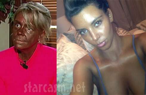 Tanorexic mom Patricia Krentcil and Kim Kardashian side by side photos