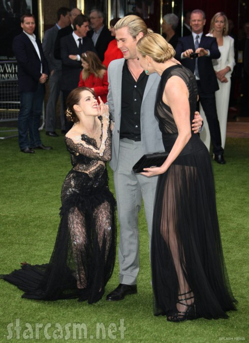 Kristen Stewart shoots a bird at Chris Hemsworth and Charlize Theron