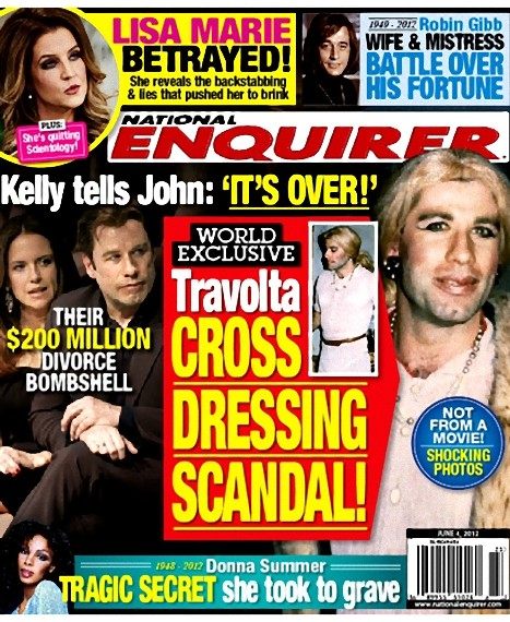 June 4 National Enquirer cover with John Travolta cross-dressing scandal photos
