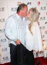 Storage Wars Darrell Sheets kisses fiancee Kimber Wuerfel at the A&E 2012 Upfront