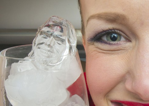 Ice cubes with Richard Branson's face