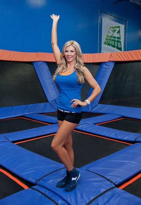 Real Hosuewives of Orange County's Alexis Bellino at Sky Zone trampoline Park in Anaheim