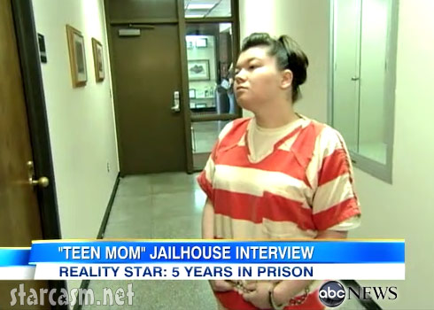 Amber Portwood in prison wearing orange stripes