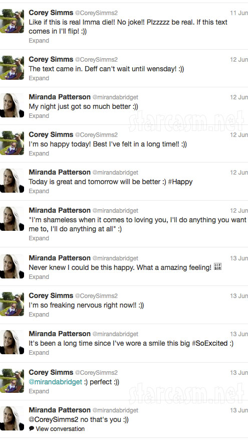 Corey Simms and Miranda Patterson tweet about their first date on Twitter