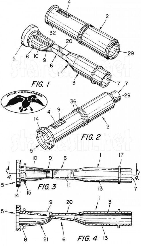 Duck Dynasty Duck Cammander duck calls patent illustration