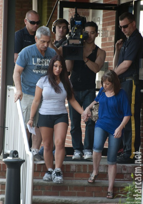 Jersey Shore&#039;s Deena Nicole Cortese leaves the police station with her parents after being arrested