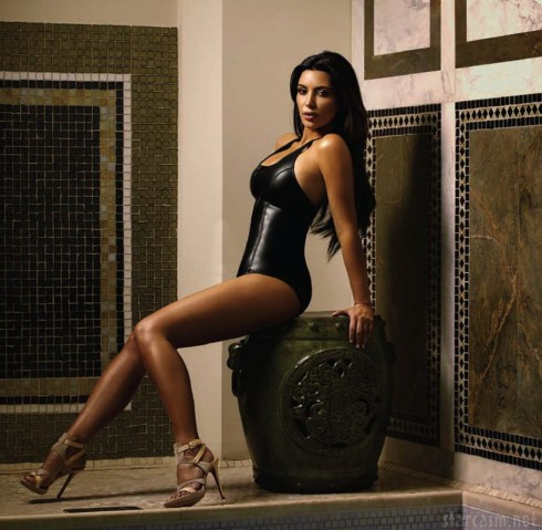 Kim Kardashian in black leather lingerie for Esquire Latin America