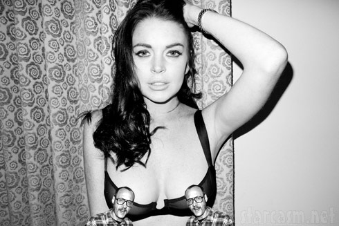 Lindsay Lohan's nipples in see-through lingerie