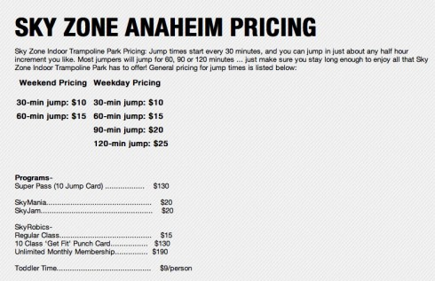 Sky Zone trampoline park admission prices