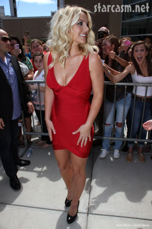 Britney Spears red Hervé Léger X Factor legs