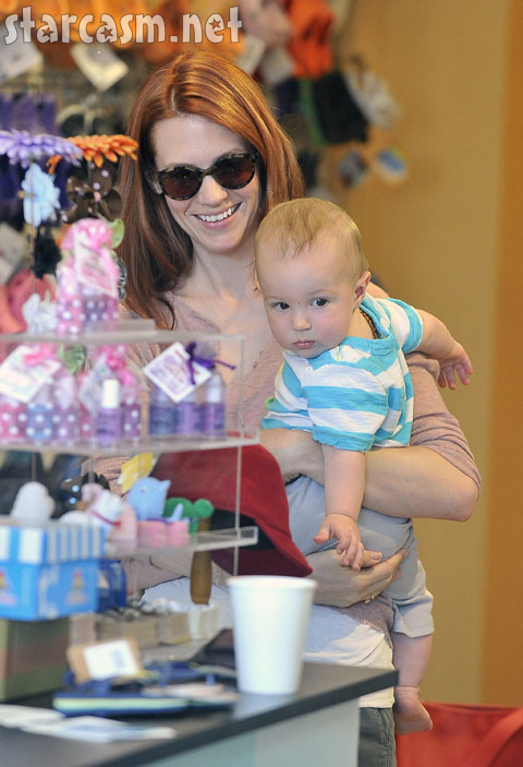 January Jones with baby Xander