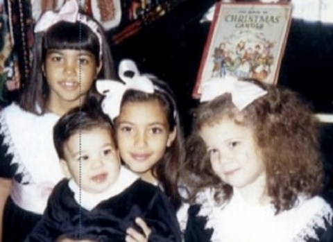 Kourtney, Rob, Kim, and Khloe as kids