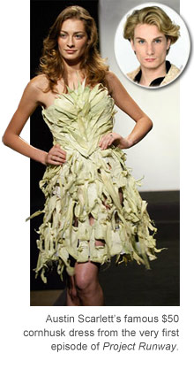 Austin Scarlett's corn husk dress from Project Runway season 1 episode 1