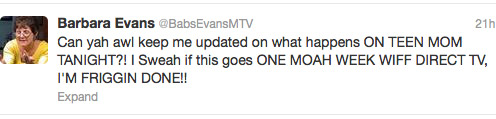 Jenelle Evans mom Barbara Evans' parody Twitter account on DIRECTV blackout