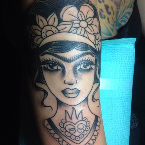 Danielle Colby Cushman's Frida Kahlo arm tattoo in the early stages before color was added