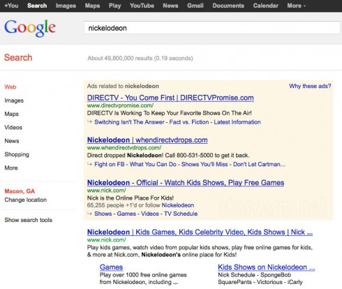 Viacom and DIRECTV appear to be buying a lot og Google ads for searches