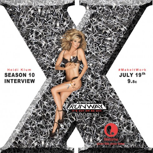 Project Runway Season 10 poster with Heidi Klum lying on a bed of scissors