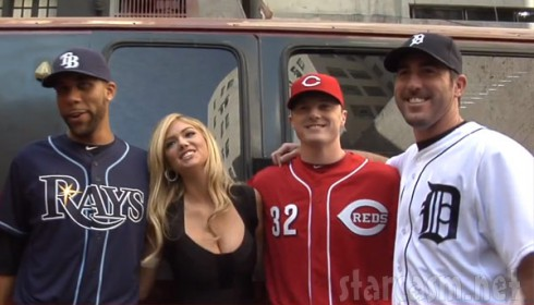 Photo of Justin Verlander with Kate Upton during MLB 2K commercial shooting