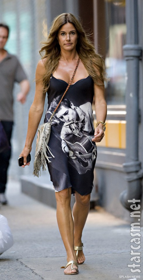 Celebrity Kelly Bensimon in a Bob Dylan print cami dress