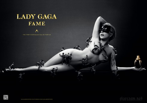 Lady Gaga nude in new Fame perfume advertisement with little men