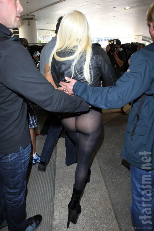 Lady Gaga flashes her butt while arriving at LAX