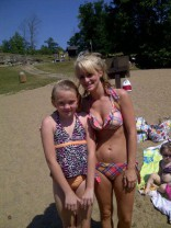 Leah Messer in a bikini at the lake 2012