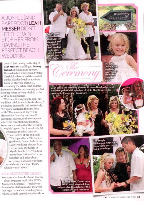 Leah Messer Calvert's wedding in South Carolina from OK! magazine