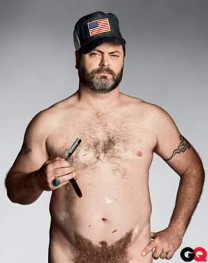 Nick Offerman as Ron Swanson with his pubic hairs shaved into the shape of an American eagle