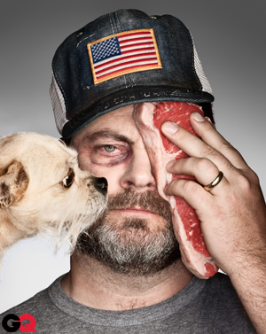 Nick Offerman with a black eye, a steak, and a dog for GQ